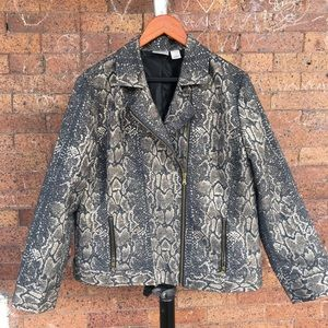 Chico's animal print Moto jacket vanity sz 2